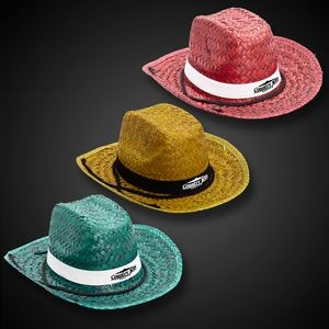 Adult Straw Cowboy Hats - Assorted Colors
